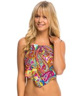 Hobie Peace, Love, and Paisley Scarf Halter Tankini Bikini Top