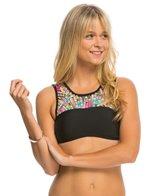 Hobie Striped Surprised Strappy High Neck Crop Bikini Top
