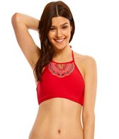 Hobie A Stitch In Time High Neck Crop Bikini Top