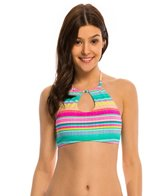 Hobie Salt Air Stripe Keyhole High Neck Crop Bikini Top