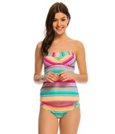 Hobie Salt Air Stripe Bandeau Tankini Bikini Top
