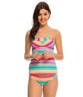 Hobie Salt Air Stripe Bandeau Tankini Bikini Top