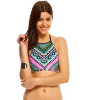 Hobie Tribal And True High Neck Crop Bikini Top