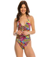 Hobie Peace Love and Paisley Lace Up One Piece Swimsuit
