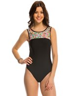 Hobie Striped Surprise High Neck One Piece Swimsuit