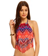 Bikini Lab Swimwear Girls Just Wanna Have Sun Fringe Scarf Hanky Tankini Bikini Top