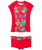 Hobie Girls' Swimwear Tropical Locales S/S Rash Guard Set (7yrs-14yrs)