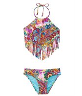 Hobie Girls' Swimwear Peace, Love, and Paisley Scarf Tankini Bikini Set (7yrs-14yrs)
