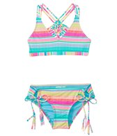 Hobie Girls' Swimwear Salt Air Stripe Macrame Bralette Bikini Set (7yrs-14yrs)