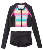 Hobie Girls' Swimwear Salt Air Stripe L/S Zip Rash Guard Set (7yrs-14yrs)