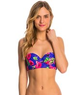 Betsey Johnson Swimwear Mysterious Rose Molded Underwire Bump Me Up Bandeau Bikini Top