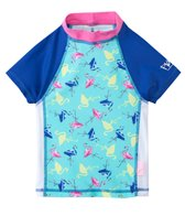 Platypus Girls' UPF 50+ Flamingo S/S Fitted Rash Guard (3yrs-14yrs)