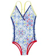 Platypus Girls' UPF 50+ Kaleidoscope Race Swimsuit (18mos-8yrs)