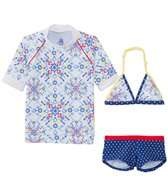 Platypus Girls' UPF 50+ Kaleidoscope S/S Rash Guard + Bikini Set (18mos-8yrs)