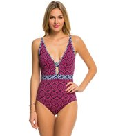Tommy Bahama Lace Medallion Tank One Piece Swimsuit