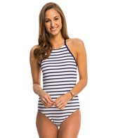 Tommy Bahama Mare Stripe High Neck One Piece Swimsuit