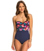 Tommy Bahama Birds of Paradise Underwire Bandeau One Piece Swimsuit (C/D/DD Cup)