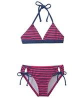 Splendid Girls' Malibu Stripe Reversible Triangle Halter Two Piece Set (7yrs-14yrs)