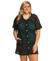 J.Valdi Plus Size Circles Button Front Cover Up Dress