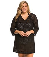 J.Valdi Plus Size Zip Zag 3/4'' Sleeve Vee Neck Cover Up Tunic