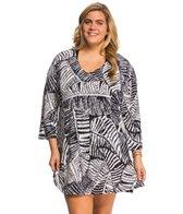 J.Valdi Plus Size ITY Prints 3/4'' Sleeve Vee Neck Cover Up Tunic