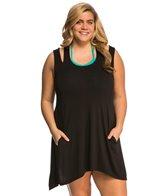 J.Valdi Plus Size Rayon Spandex Jersey Double Strap Tank Cover Up Dress