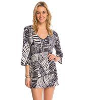 J.Valdi ITY Prints 3/4'' Sleeve Vee Neck Cover Up Tunic