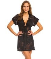 J.Valdi Tropical Sheer Tie Front Hooded Cover Up Tunic