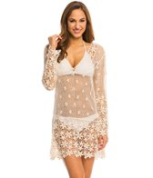 J.Valdi Crochet Flower 3/4 Sleeve Vee Yoke Cover Up Tunic