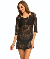 J.Valdi Diamond Crochet 3/4'' Sleeve Scoop Neck Cover Up Tunic
