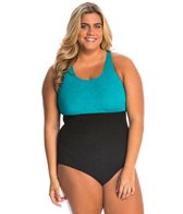 Sporti Plus Size Textured High Neck Colorblock Slimsuit