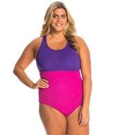 Sporti Plus Size Textured High Neck Colorblock Slimsuit