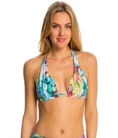 Sunsets Enchanted Garden Slide Shirred Halter Bikini Top