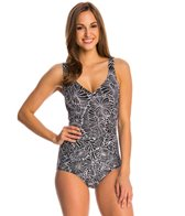 Maxine Desert Bloom Scoop Faux Tankini One Piece Swimsuit
