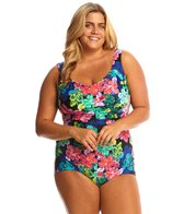 Maxine Plus Size Lanikai Shirred Front Girl Leg One Piece Swimsuit