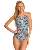 La Blanca Tile Flora Hi-Neck Halter One Piece Swimsuit