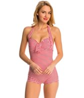 Seafolly Riviera Stripe Girl Leg Halter One Piece Swimsuit