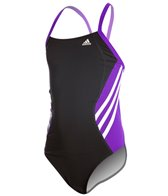 Adidas Youth Solid Splice Vortex Back One Piece Swimsuit