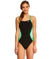 Adidas Solid Splice Vortex Back One Piece Swimsuit