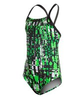 Adidas Youth Amoeba Blocks Vortex Back One Piece Swimsuit