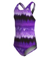 Adidas Youth Graphic Stripe V-Back One Piece Swimsuit