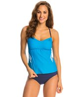 Adidas Women's 3-Stripe Solid Adjustable Bandeaukini Top