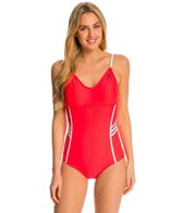 Adidas Women's 3-Stripe Solid Adjustable One Piece Swimsuit