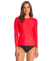 Adidas Women's 3-Stripe Solid Long Sleeve Rash Guard