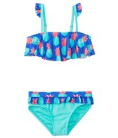 Raisins Girls' Pineapple Kisses Ruffle Flounce Two Piece Bikini Set (4yrs-6X)