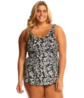 T.H.E Plus Size Mastectomy Crystal Bamboo Sarong One Piece Swimsuit