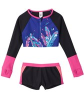 Limeapple Swimwear Girls' Flamenco Printed Cropped Rash Guard Set (4yrs-16yrs)