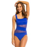 DKNY Mesh Effect Splice One Piece Swimsuit