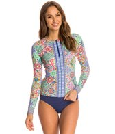 Nanette Lepore Greek Tile Covers Front Zip Longsleeve Rashguard