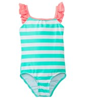 Hula Star Girls' Aqua Stripe One Piece Swimsuit (2T-6X)